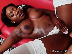 Ebony beauty housekeeper enjoys big white cock