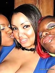 Black BBW babes with big tits posing slutty