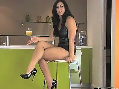 Hot brunette babe on high heels