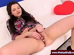 Juicy cherry masturbation with brunette