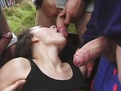 MILF fucked and cummed over outdoors