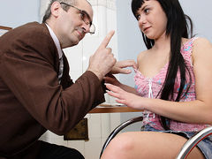 TrickyOldTeacher - To pass class, sexy chubby brunette sucks teacher's cock and fucks him hard
