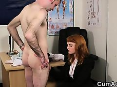 Foxy peach gets cum load on her face gulping all the cum