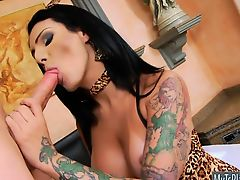 Huge boobs shemale screwed in her juicy asshole on the bed