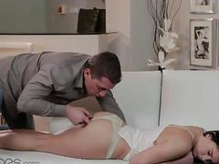 pussy eating to a sleeping cute girl, intense fuck and hot orgasms